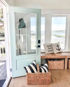 "Fern Leslie on Instagram: ""Love the beach house from @cottageandbloom !! The perfect #coastalfarmhouse look for my pastel shell fabric or wallpaper!!"""