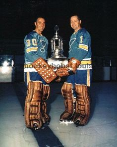 Vezina Trophy Winners HOFers Glenn Hall Jacques Plante St Louis Blues TOP 1 league of legends player Ice Hockey Teams, Hockey Goalie, Hockey Players, Hockey Gear, Hockey Stuff, Nhl, Hockey Trophies, Goalie Mask, St Louis Blues