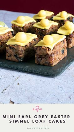 Mini Easter simnel cakes flavoured with earl grey tea and sweetened with dried fruit. A perfect Easter treat to bake for your family. Easily adapted to be dairy free and vegan.