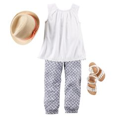 Keep it sweet and simple with a cute tank and printed joggers. Add a fedora and matching sandals for extra style! Carter's