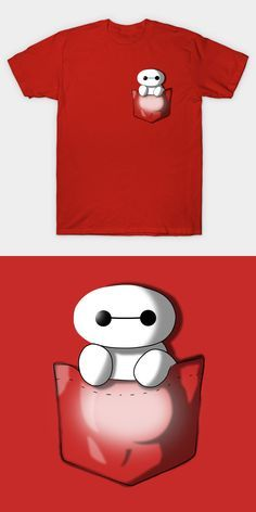Pocket Baymax T Shirt | This is the most adorable Big Hero 6 shirt ever! It's a mini Baymax in your pocket. How cool is that? :) | Visit Shirt Minion http://shirtminion.com/2016/07/pocket-baymax-t-shirt/