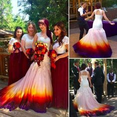Mermaid Wedding Dresses Bridal Gown with Appliques · dressydances · Online Store Powered by Storenvy Lilac Wedding, Mermaid Wedding, Fall Wedding, Wedding Colors, Dream Wedding, Wedding Dresses With Color, Dip Dye Wedding Dress, Rainbow Wedding Dress, Bridal Dresses
