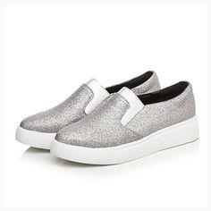 27d3cc01ba1 Women Silver Fashion Glitter Slip-On Loafer DolphinGirl Shoes Vacation  Platform Loafer Shiny Bling Comfy