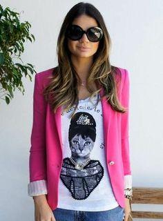 blazer/ casaco pink, colorido, da zara. entrega imediata!!