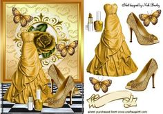 GOLD DRESS BUTTERFLIES AND GOLD SHOES on Craftsuprint - Add To Basket!