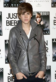 "Grey Justin Bieber Motorcycle Leather Jacket  	This mesmerizing jacket is one of its kinds. It is worn by style icon and heartthrob of the younger lot Justin Bieber at the ""X factor"" studio. The design of this leather jacket is just elegant and exquisite. It has unique design and is unique in c"