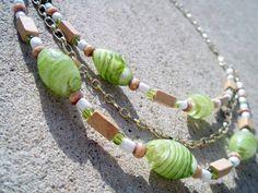 Peridot Swirl, Natural Wood and Czech Glass Bead Necklace