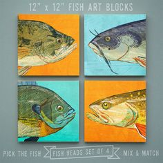 Fish Heads - Freshwater Fish Art Series Set of 4 Art Blocks - 12 in x 12 in Fish Wall Decor Fisherman Gift - Fathers Day Gift for Dad - Gift - product images of Fish Wall Decor, Fisherman Gifts, Lake Art, Fish Illustration, Box Art, Art Boxes, Fish Design, Art Series, Fish Art
