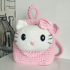 Discover thousands of images about Crochet Hello Kitty Purse Free Pattern Crochet Hello Kitty, Chat Hello Kitty, Hello Kitty Purse, Crochet Bows, Crochet Girls, Crochet Purses, Crochet For Kids, Crochet Backpack Pattern, Hello Kitty Backpacks