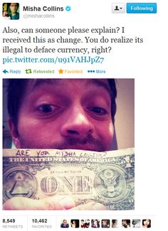 Misha Collins on Twitter [HE FOUND ONE. The plan was a success! O: ]