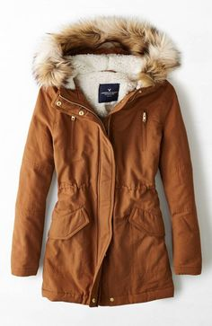 AEO Hooded Parka in burnt orange - this looks so warm and cozy, i love the color