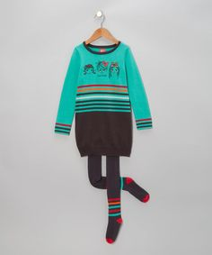 Take a look at this Turquoise Knit Dress & Charcoal Tights - Toddler & Girls by Blanc de Blanc on #zulily today!