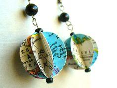 Map Paper Bead Earrings
