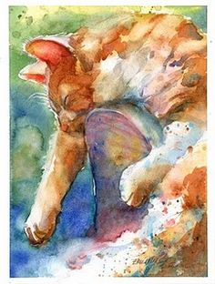 """Dreaming Sweet Dreams"" inches plus white borders watercolor on paper This is my painting specifically inspired by the Daily Paintwork. Art Watercolor, Watercolor Animals, Cat Drawing, Painting & Drawing, Illustrations, Illustration Art, Photo Chat, Wow Art, Arte Pop"