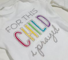 This adorable bodysuit quotes 1 Samuel 1:27 For this Child I Prayed. Rainbow Baby For This Child I Have Prayed Baby Onesie, Bodysuit, Photo Prop, Pregnancy Announcement, Baby Shower Gift