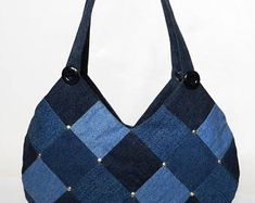 Shoulder tote bag blue denim tote bag women's shoulder bag denim bag patchwork bag Bags & Purses