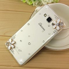 New 3D White Flower Bling Crystal Diamond Transparent Cell Phone 17c3d8bb3577