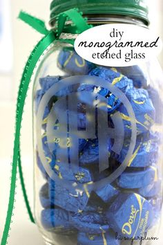 Hi Sugarplum | DIY Etched Monogram Jar, for Thank You gifts. Perfect easy project for all those empty spaghetti and jelly jars!
