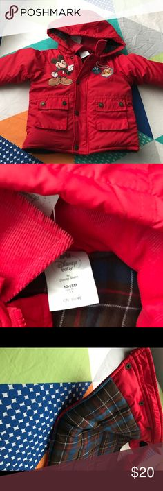 Disney winter coat for infant Red Mickey puffer coat for infants size 12-18 months with flannel interior, NEVER worn, still has original tags Disney Jackets & Coats Puffers