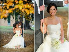 Adena and Jared's Cranwell Wedding - On the swings outside of the Mansion.