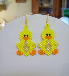 Beaded Yellow Ducky Bird Earrings by BeadedCreationsetc on Etsy