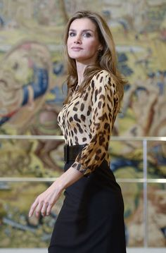In October 2013, Letizia wasn't afraid to wear leopard print during a special audience at Zarzuela Palace in Madrid.