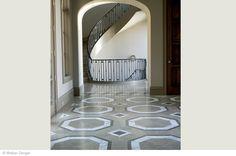 Floor: London Grey 16'' x 16''. Custom Floor Pattern: London Grey 16'' x 16'', Lagos Azul 16'' x 16'' and Calacata Luna Marble 18'' x 18'' H...
