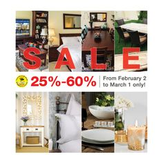 Get 25% up to 60% discount on all items. Don't miss this GREAT deal, hurry and visit our showroom now! Promo is from February 2 - March 1 #furnituresale #discounts #homeaccesories
