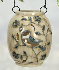 Another great find on #zulily! Ivory & Blue Bird Lantern #zulilyfinds