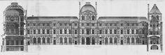 Louvre – Paris 1756 Drawings by Jacques-François Blondel Baroque Architecture, Architecture Plan, Classic Architecture, Paris Opera House, London Map, Old Paris, Architectural Prints, Vintage Drawing, France