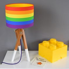 Rainbow Stripe Drum Lampshade With Choice Of Coloured Lining Table Lamp