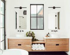 Cozy Modern Warm Bathroom Interior Design Ideas, modern bathroom with floating wood vanity and modern bathroom sconce Warm Bathroom, Bathroom Renos, White Bathroom, Bathroom Renovations, Small Bathroom, Master Bathroom, Bathroom Ideas, Washroom, Window In Bathroom