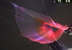 """Janet Echelman, in collaboration with Google creative director Arron Koblin for 30th anniversary gathering of TED in Vancouver. """"Skies Painted with Unnumbered Sparks"""", Vancouver, Canada, March 2014"""