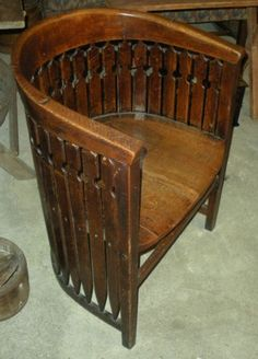 Antique Late 1800s Early 1900s Arts Crafts Mission Barrel Chair Oak RARE | eBay