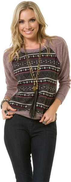 LUCCA AZTEC CREW SWEATER   http://www.swell.com/LUCCA-AZTEC-CREW-SWEATER-1?cs=MU