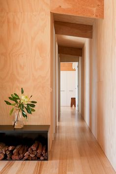 Clare Cousins Architects is engaged in projects large and small, with a particular interest in housing and projects that nurture community. Exterior Design, Interior And Exterior, Plywood Walls, Wooden Walls, Architecture Design, Upstairs Loft, Clare Cousins, Foyer Design, House On A Hill