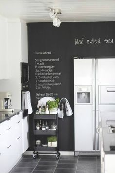 a blackboard wall is increasingly popular, and also a very cool and creative way to add black to a kitchen
