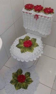 Jogo De Banheiro Em Barbante Flores Frete Grátis - R$ 159,00