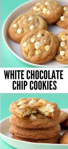 White Chocolate Chip Cookies Perfect White Chocolate Chip Cookies made completely from scratch. Crisp on the edges, gooey in the centre, these Chocolate Chip Cookies are packed with white chocolate chips. Find the easy recipe on Butter Cookies Recipe, Cake Mix Cookies, Cookies Et Biscuits, Yummy Cookies, Gooey Cookie Recipe, Macaroon Cookies, Brownie Cookies, Cake Mix Recipes, Easy Cookie Recipes