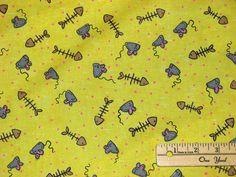 CAT NAP'N Mouse & Fish Bones Yellow Cotton Quilting Fabric eBay