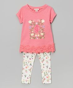 Another great find on #zulily! Pink Lace-Trim Tee & Leggings - Toddler & Girls by Juicy Couture #zulilyfinds