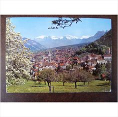 Switzerland Chur with Falknis and Scesaplana mountains1970s colour Geiger postcard