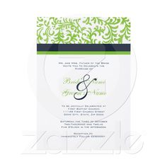 Green and Blue Wedding Invitation from Zazzle.com