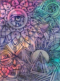 ☯☮ॐ American Hippie Bohemian Psychedelic Art ~ OM Namaste Eye Conscience Psychedelic Art, Doodle Art, Logo D'art, Dibujos Zentangle Art, Zentangles, Psy Art, Sharpie Art, Doodle Designs, Trippy Designs