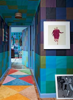 coloured paper walls! Doug and Gene Meyer interior. Rug Doug and Gene Meyer studio.