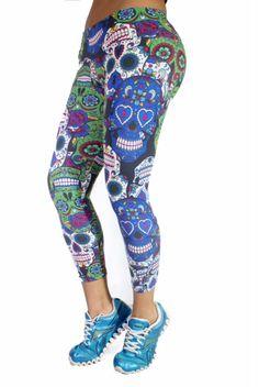 Shape Up Multi Skulls Capris,leggings capris,workout clothes for women,Fitness capris, yoga leggings capris, workout capris, Supplex capris,sexy activewear