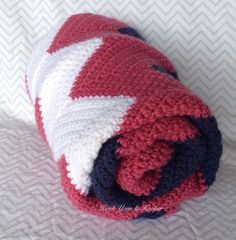 Custom Chevron Crochet Baby Blanket Girl  by HookYarnAndHooper