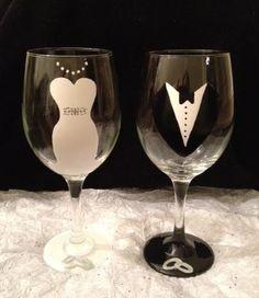 Bride and Groom Wedding Hand-painted Wine by CrystalsGlassDesigns
