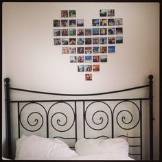 Heart made of poloroid photos, good memories on my wall!