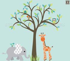 Jungle Animal Decal Tree Decal Nursery by StickItDecalDesigns